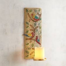 Beaded Birds Candle Holder Wall Sconce