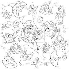 Grande Insieme Di Simpatici Animali Marini E Dei Cartoni Animati