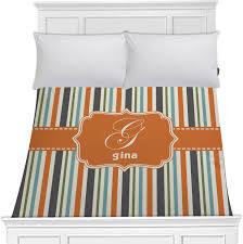orange blue swirls stripes duvet cover personalized