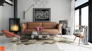 unique abstract shaped area rug for living room with brown sofa vases paintings