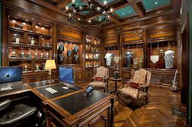 Image Cherry Luxurious Home Office With Expensive Wood Paneling Flooring And Coffered Ceiling Home Stratosphere 17 Ultra Luxury Home Office Designs stunning