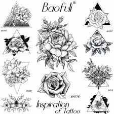женские временные тату наклейки с цветами для свиданий черные сексуальные розы