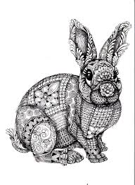 Difficult Rabbit Adult Coloring Page Free