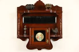 victorian eastlake 1880 antique cherry wall shelf cabinet beveled mirror