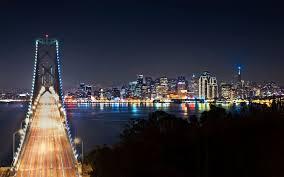 Blue Light In San Francisco Sky Bay Bridge And The City San Francisco Wallpaper San