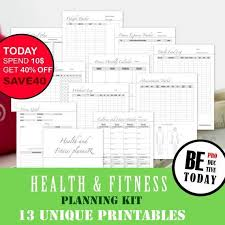 Food Tracker Pro Fitness Planner Bundle Health And Fitness Journal Food Diary