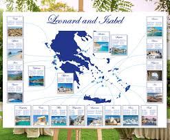 Greek Seating Chart Detailed Destination Wedding Seating Chart Travel Theme Wedding