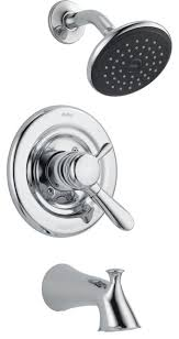 delta lahara temp volume dual control chrome tub shower faucet with valve d365v transitional tub and shower faucet sets by faucetlist inc