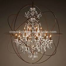 north european style big orb industrial cage crystal chandelier pertaining to stylish house cage style chandeliers decor