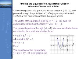 finding the equation of a quadratic function