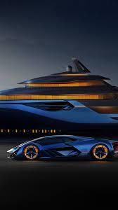 Blue Lamborghini, yacht, helicopter ...