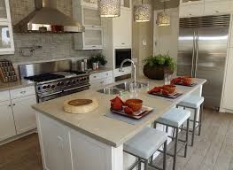 kitchen island with sink and light quartz counter top