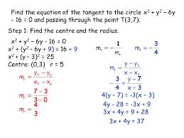 find the equation of the tangent to the circle x2 y2 6y 16