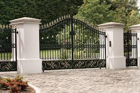 entrance gate designs for home. iron gates home entrance. exterior landscape design featuring black swing cast main gate entrance patterned with rustic decorations and ring lances designs for h