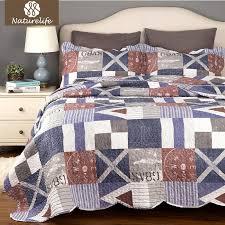 naturelife blue nautical plaid bedclothes luxurious quilted bed set bed linen microfiber patchwork bedspread bedding sheet sheet sets comforter sets king