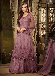 Heavy Designer Suits Wholesale Lavender Net Reception Wear Heavy Embroidery Work Sharara