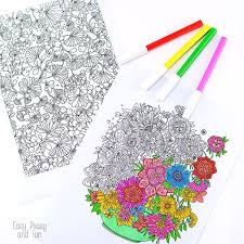 We have all kinds of flowers, simple for the kids and. Flower Coloring Pages For Adults Easy Peasy And Fun