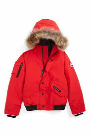 Canada Goose  Rundle  Down Bomber Jacket with Genuine Coyote Fur Trim  (Little Kid   Big Kid)