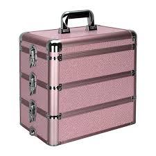 sunrise pink krystal professional aluminum cosmetic makeup case e3303 0