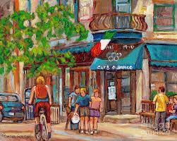 italian street scene painting cafe olimpico 124 rue st viateur montreal paintings