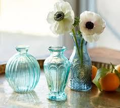 vintage inspired pressed glass bud vase cool set of 3