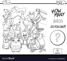 counting birds coloring book activity vector image