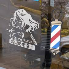image design logo shape hair salon beauty salon barber window stickers decorative glass door stickers wall stickers in on alibaba com