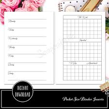 Printable Binder Inserts Pocket Rings Week On Two Pages Ring Binder Printable Insert Refill Undated