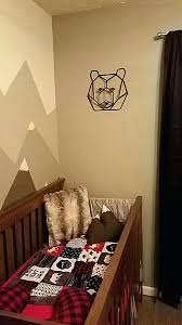 buffalo plaid mountain bear nursery gray black and red briar decor