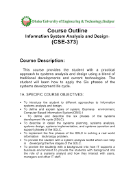 Basic Information Systems Analysis And Design Course Outline