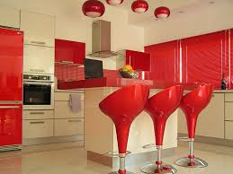 image of modern confident kitchen with red laminate countertops