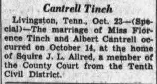 Albert Cantrell and Florence Tinch marriage - Newspapers.com