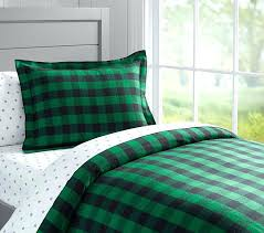 green gingham duvet cover twin pale