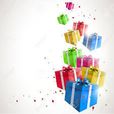 Gifts Background Flying Gifts Background With Copyspace