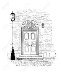 old doors in vine style over white background house entrance hand drawing ilration doodle