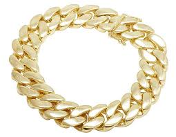jewelry unlimited 10k yellow gold semi hollow miami cuban link box clasp bracelet 17mm