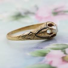 c1870 Taille d'Epergne and Pearl Belcher Ring – Pippin Vintage Jewelry
