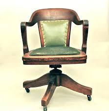 antique wooden desk chair office chairs with casters wheels vintage swivel ch