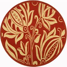 safavieh courtyard collection cy2961 3707 red and natural round area rug 6 feet