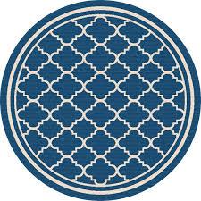 8 round navy blue moroccan tile indoor outdoor rug garden city rc willey furniture