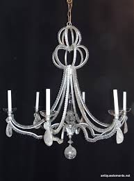 this wonderful 6 light vintage modern transitional custom niermann weeks silvered beaded and rock crystal oversized