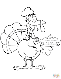 Small Picture Happy Turkey Chef with Pie coloring page Free Printable Coloring