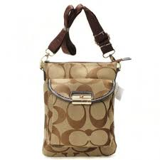 Coach Kristin Lock Small Khaki Crossbody Bags BEE