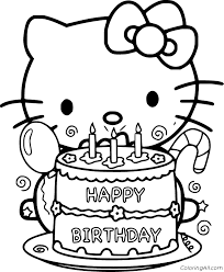 20 hello kitty coloring pages for kids | printable coloring book. Hello Kitty Holds Birthday Cake Coloring Page Coloringall
