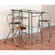 home furniture breakfast bar 3 pc set table with 2 folding chair made of stainless steel amazoncouk kitchen home breakfast bars furniture