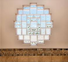 Glass block window design, small living room Round window design,  attractive block pattern, bathroom wall
