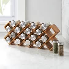18-Jar Acacia Wood Spice Rack in Salt & Pepper + Reviews | Crate and Barrel