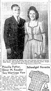 Priscilla Potter - Marriage to Elmer Reader - Newspapers.com