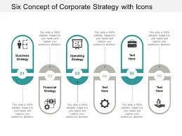 Microsoft Corporate Strategy Six Concept Of Corporate Strategy With Icons Ppt Powerpoint