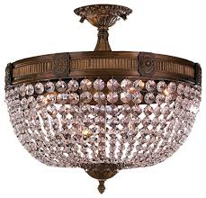 ont 6 light antique bronze finish crystal semi flush mount within antique flush mount ceiling light